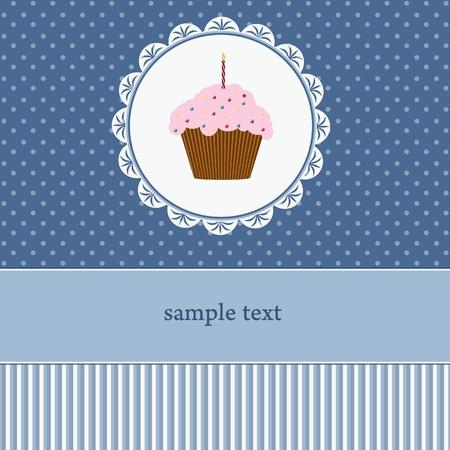 Birthday card with cupcake  Illustration