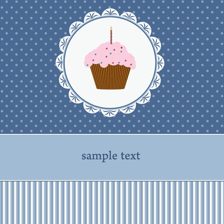 Birthday card with cupcake Stock Vector - 12492400