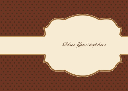 Brown vintage card, polka dot design Vector