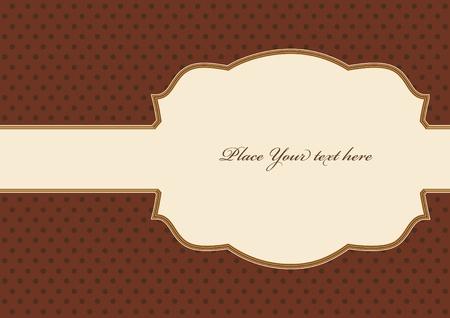 Brown vintage card, polka dot design Illustration
