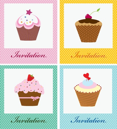 cup cakes: cup cakes   perfect as invitation or announcement  Illustration