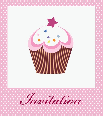 muffins: vector invitation with cupcake on decorative background Illustration