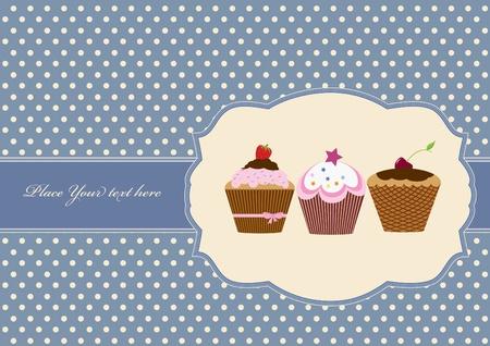 Cup cake vintage frame design Stock Vector - 12492413