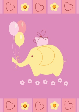 Baby shower card with cute elephant, gift box and colorful ball Vector