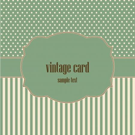 vintage card, polka dot design  Illustration