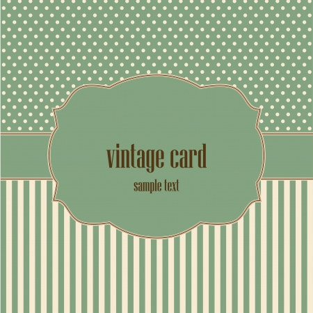 vintage card, polka dot design  Illustration