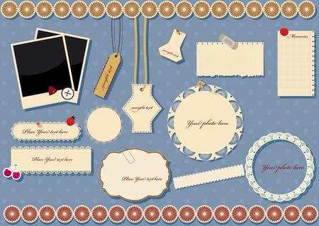 photo album page: elementos de libro de recuerdos ilustraci�n vectorial
