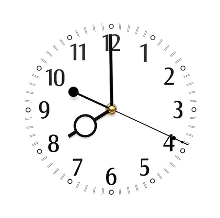 wall clock isolated on white background showing time photo