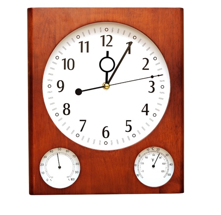 Wooden wall clock isolated on white background  photo