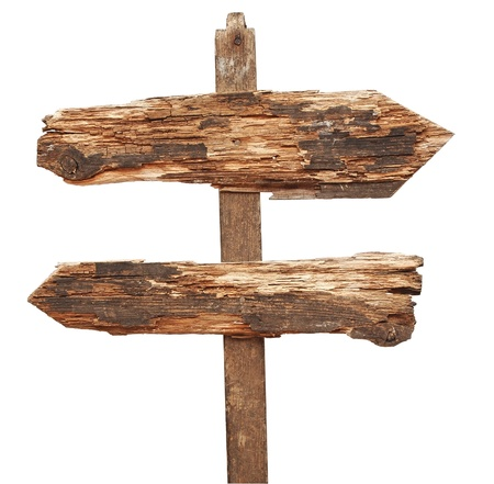 vintage wooden arrows road sign isolated on white photo