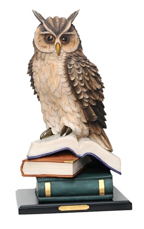 wisdom: plaster statuette of an owl isolated on white background. concept education. Stock Photo