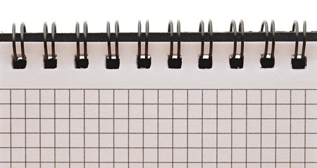 blank background. paper spiral notebook isolated on whit photo