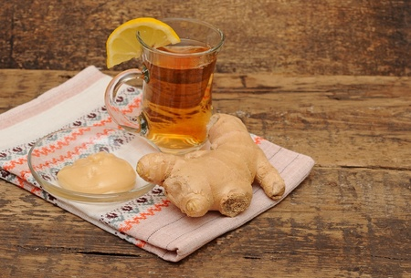 Tea with ginger lemon and honey  photo