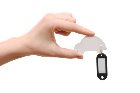 woman hand holding model car with blank tag isolated on white background. space for your text  photo