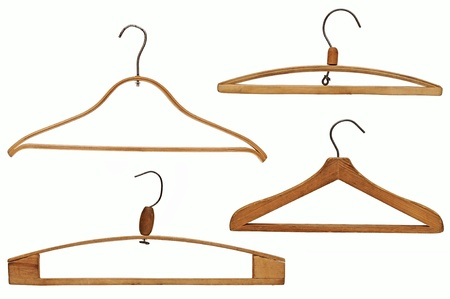 coathanger: clothes hangers set isolated on white background  Stock Photo