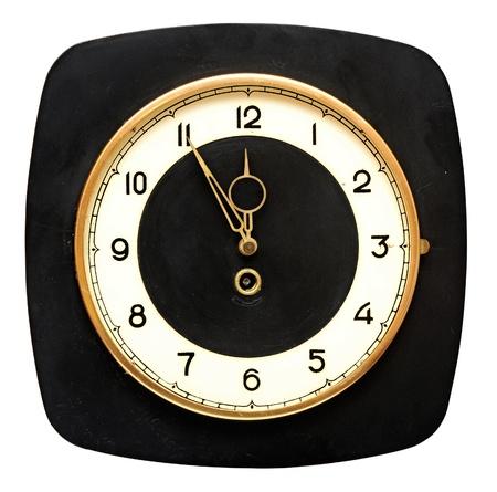 reloj antiguo: reloj de pared retro aislado sobre fondo blanco Foto de archivo