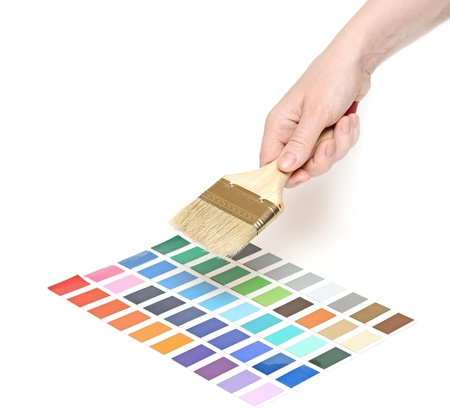 hand with brush and colorful paint samples  Stock Photo - 13211469
