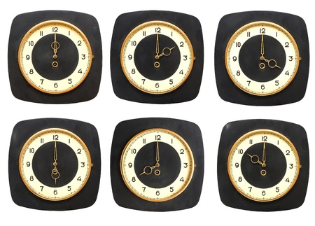 timezone: Collection old clocks wall on white background. Timezone clock Stock Photo