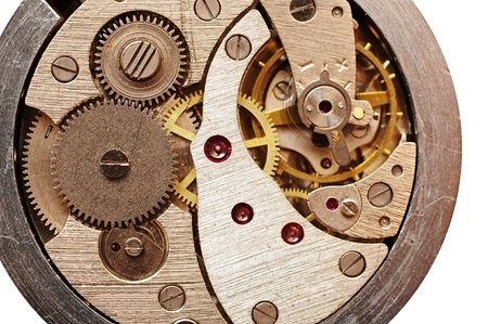 Old pocket watch mechanism photo