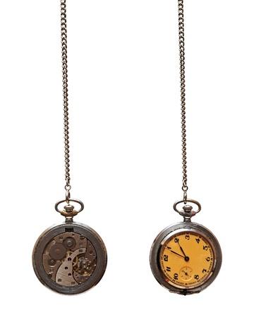 reloj antiguo: Detalle del reloj de bolsillo antiguo aislado sobre fondo blanco Foto de archivo