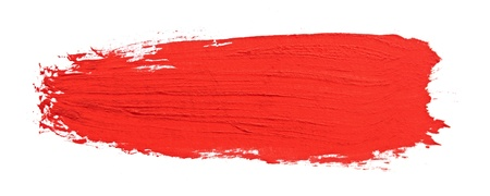 red stroke of the paint brush isolated on white photo