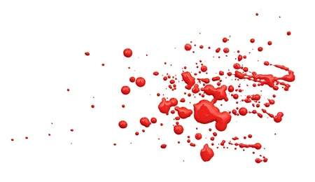 close up of red paint drops on white background photo