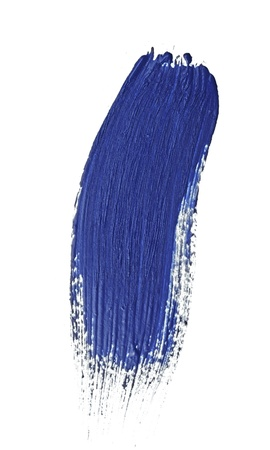 blue stroke of the paint brush isolated on white Stock Photo