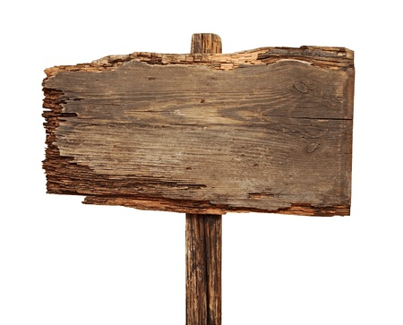 close-up van een lege houten teken geïsoleerd op witte achtergrond Stockfoto