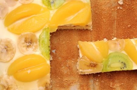 Close-up  slice of apricot cake   photo