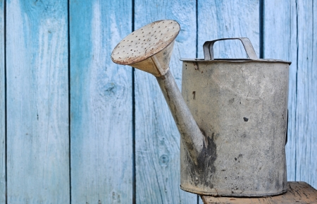 watering can: old watering can on wooden background