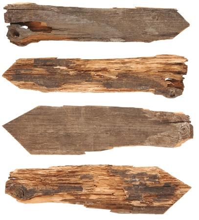 Sammlung von Holz-Zeichen auf weißem Hintergrund Standard-Bild - 13898088