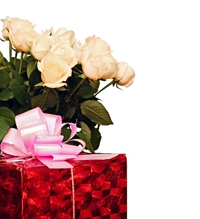 beautiful roses and gift box isolated on white background photo