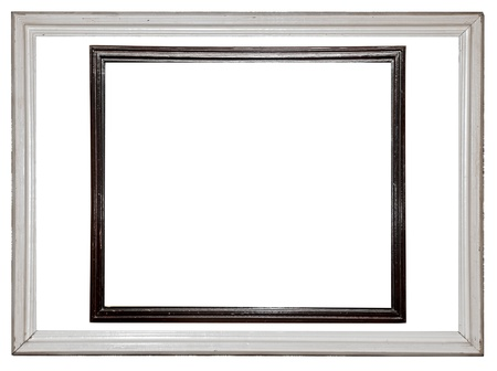 Distressed white and black painted picture frame isolated on white photo