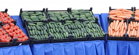 vegetables in boxes at vegetable market Stock Photo - 14122282