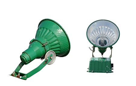 A vintage theater spotlight isolated on a white background  photo