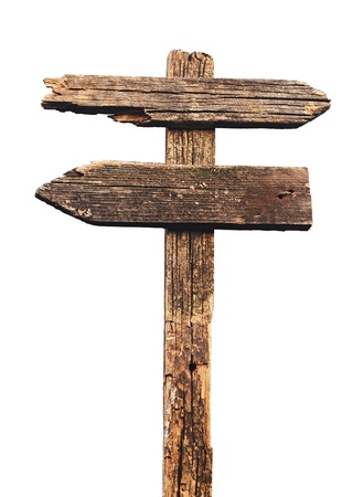 directional: Old wood sign isolated on white