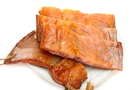 pile smoked fish on a white background Stock Photo - 14260435