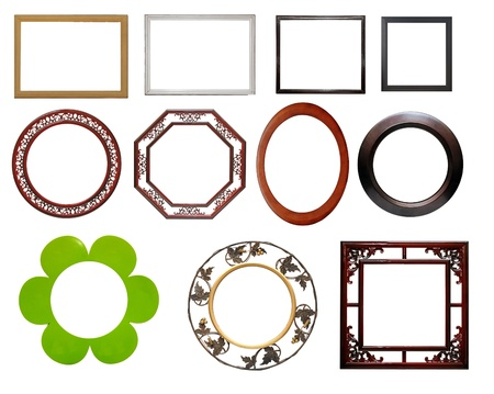 set of wooden picture frame, isolated with clipping path Stock Photo - 14323661