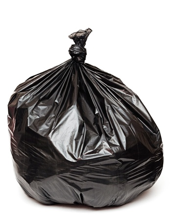 garbage bin: close up of a garbage bag on white background