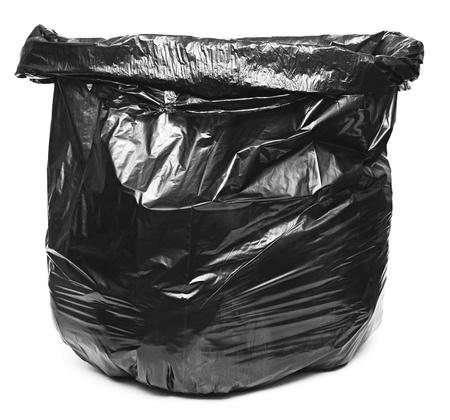 black plastic garbage bag: Garbage bag on white background  Stock Photo