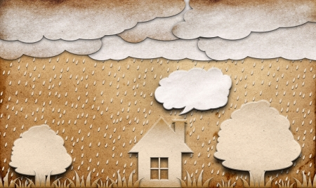 rainy view recycled paper craft stick on brown background photo