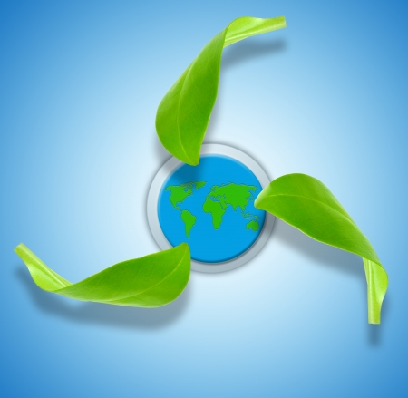 environmental safety: recycling symbol with world map in background   Stock Photo