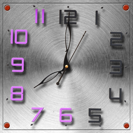 Modern clock on circular metal brushed texture  photo