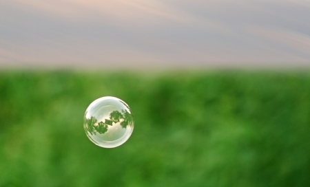 happiness concept: Single soap bubble Stock Photo