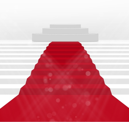 red carpet event: Stairs covered with red carpet  Stock Photo