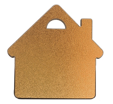 golden metallic house shaped object on white background  Stock Photo - 15059371