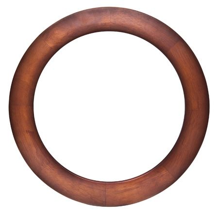 Round wooden frame isolated on whit Stock Photo - 15176143