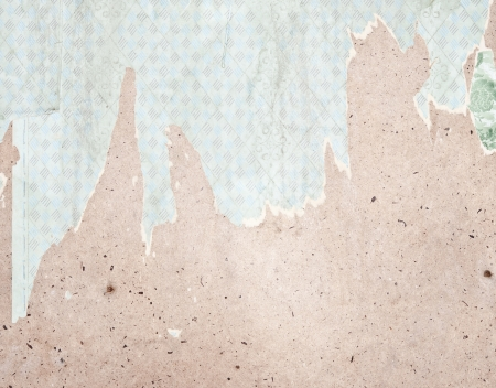 remount: Fragment of old destroyed wall with wallpaper in abandoned house