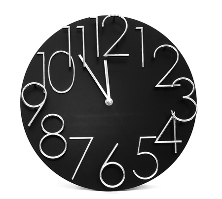 abstract alarm clock: Wall clock, photo on the white background