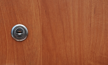 key hole of office wooden cabinet  photo